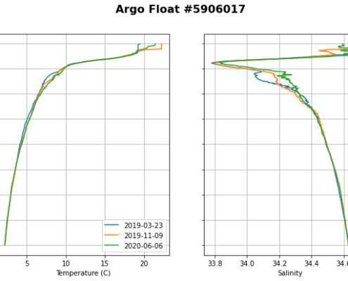 Profiles of temperature and salinity from an Argo float off Baja