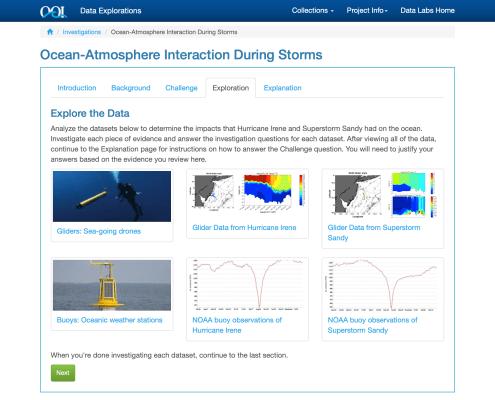 Screenshot of the Ocean Atmosphere Data Investigation activity
