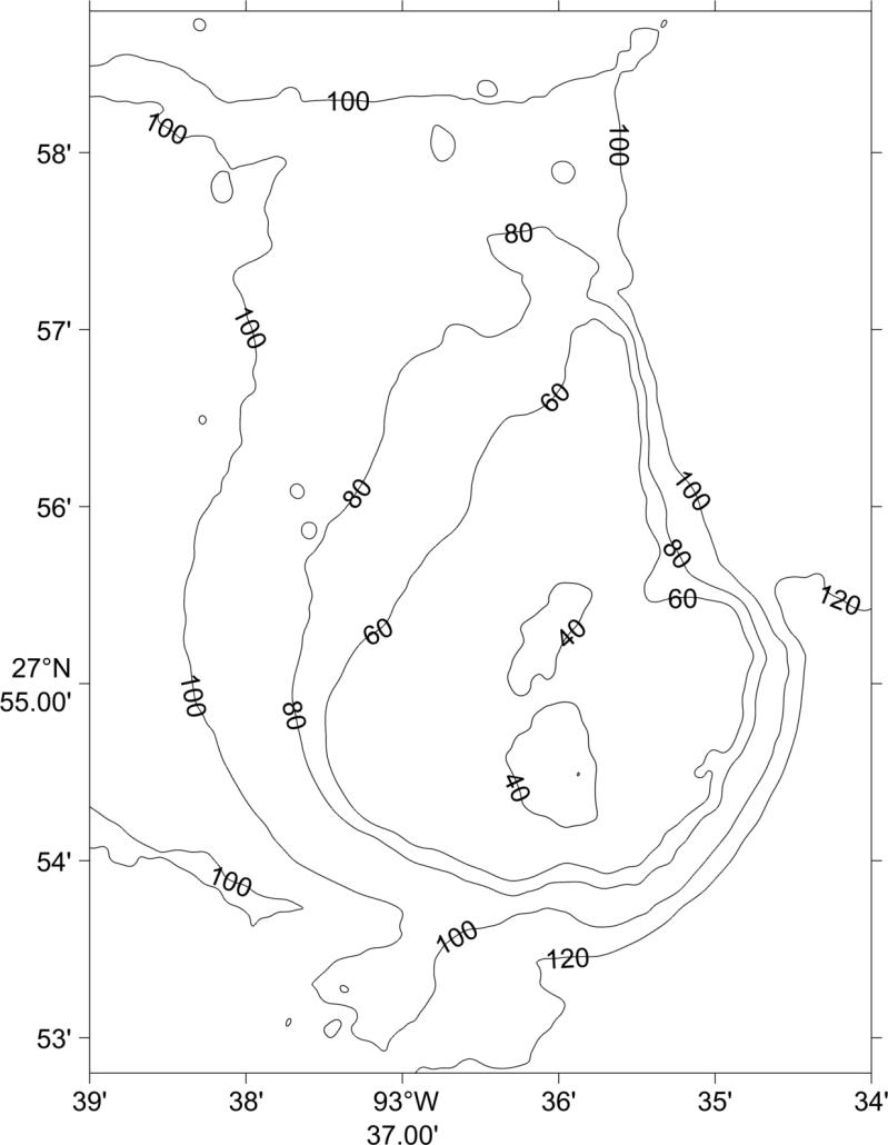contour map of East Flower Garden Bank