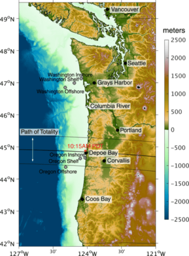 map showing path of 2017 eclipse across Oregon shelf
