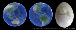 Image of egg shell broken and 2 images of earth broken into tectonic plates.
