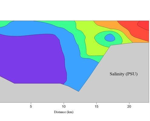 salinity data displayed with color contours