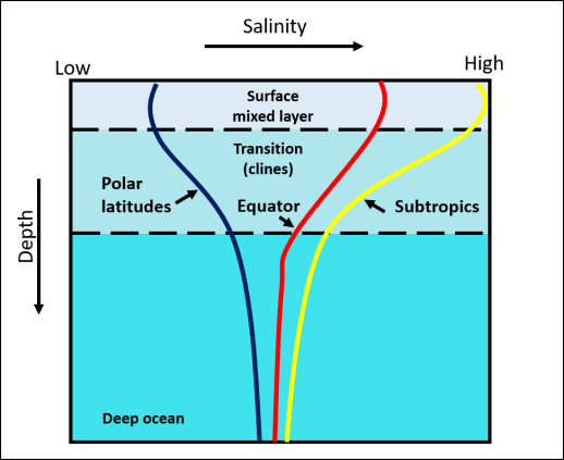 Image depicts haloclines for tropics, subtropics and polar latitudes from surface mixed layer to depth.