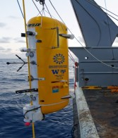 Installation of a Wire-following Profiler clamped to a deep profile vertical mooring.