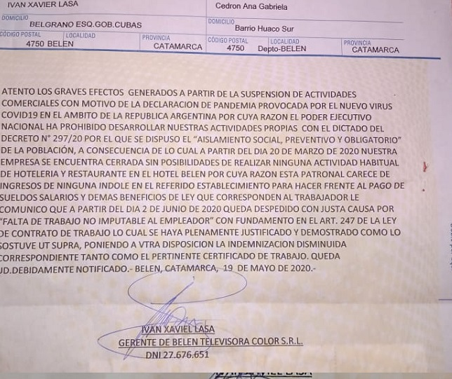 Carta documento despido, Hotel Belén.