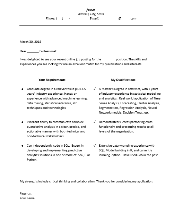 style of cover letter Data Science
