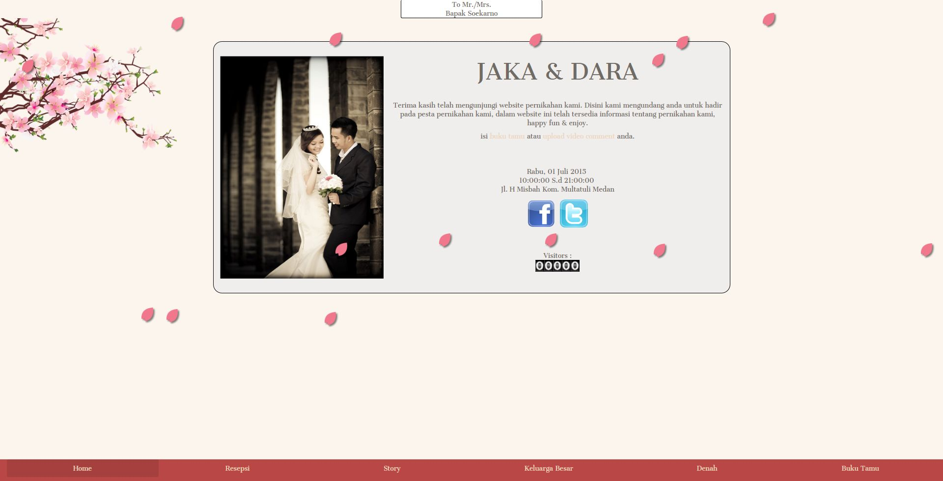 Desain Undangan Online Sakura Animated Wedding Theme