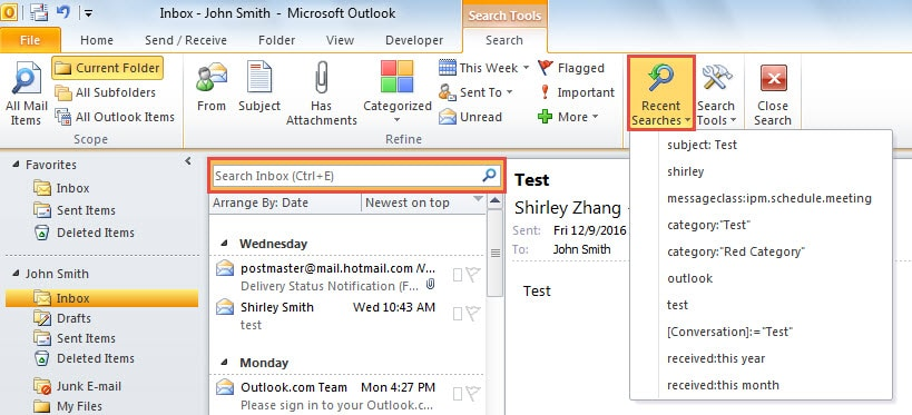 How To Clear The Recent Search History In Your Outlook