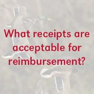 What receipts are acceptable for reimbursement?