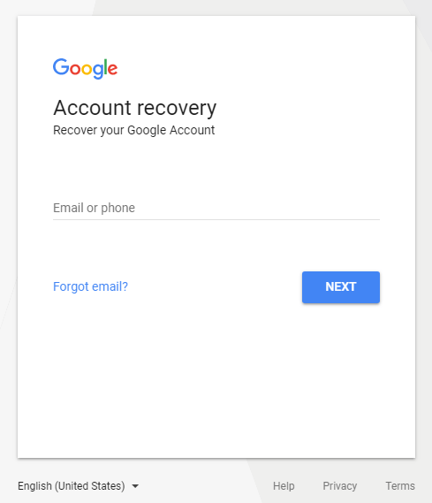 Google Account Recovery page