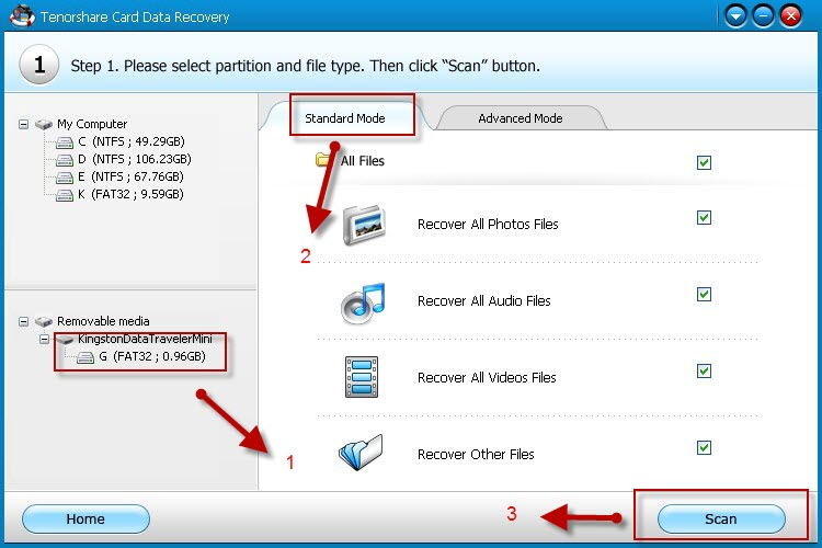 Tenorshare Card Data Recovery Select Drive and Data Recovery Mode