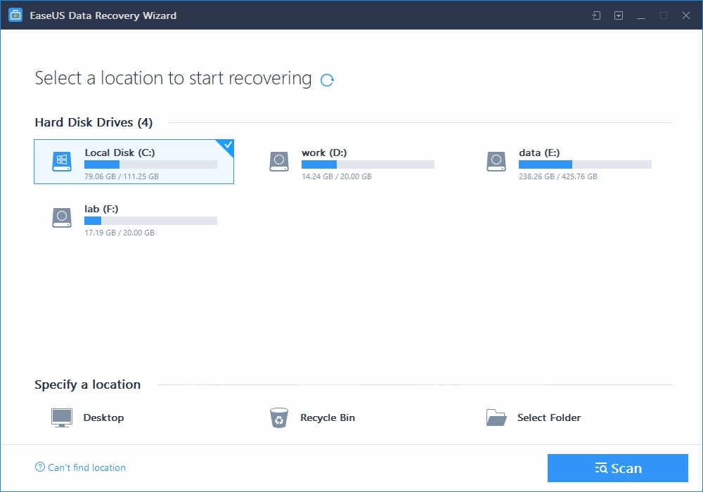 Select Location EaseUs Data Recovery Wizard