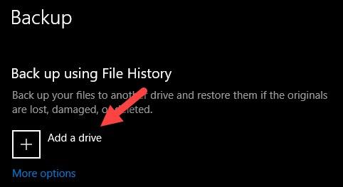 Add a Drive to Backup Windows