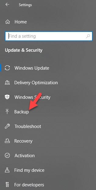 Backup in Update Settigns Windows 10