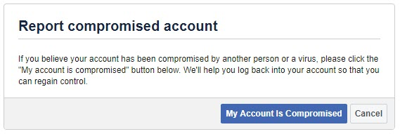 Report Compromised Facebook Account