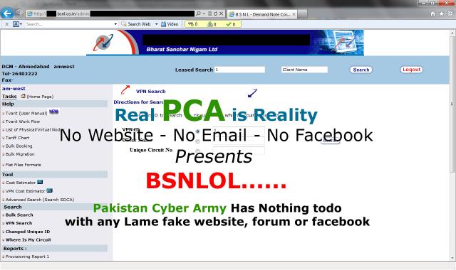 BSNL Website got hacked by Pakistan Cyber Army