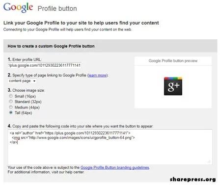 Google plus Profile Button creator