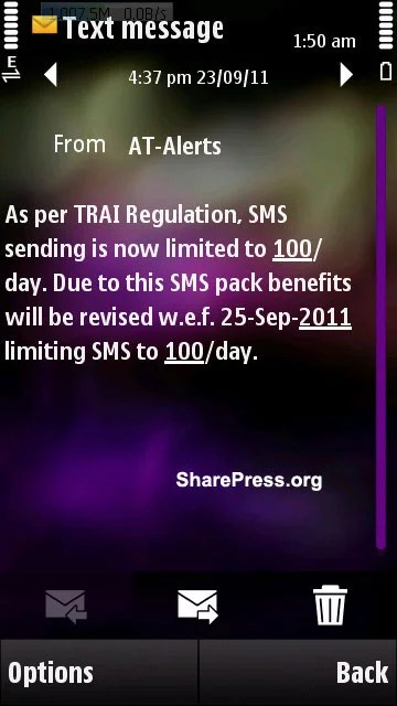 TRAI 100Sms per day restriction activated by telecom operator