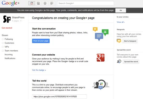 Google Plus Create Page - Initial page of SharePress