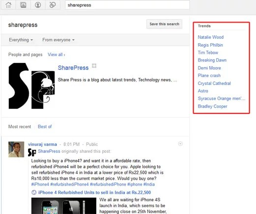 Google plus Trends on Google+ search results