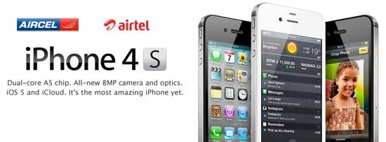 Apple iPhone4S launches in India on 25th Nov 2011 by Aircel and Airtel