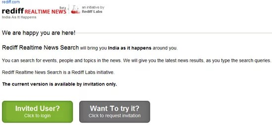 Rediff Realtime Indian News Search Invitation Page