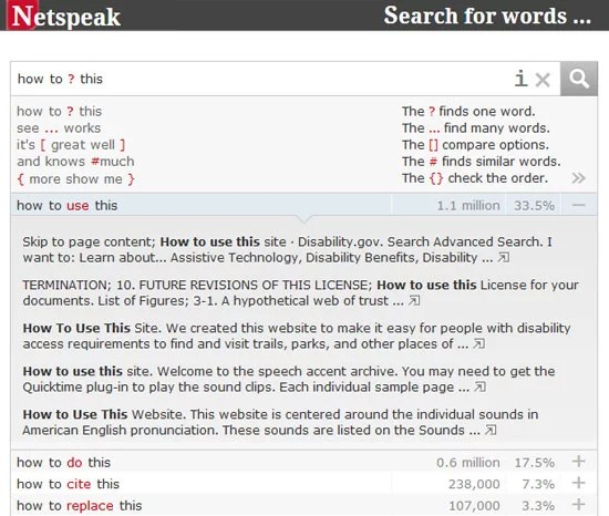 Netspeak - Search Engine to Assists your Writing