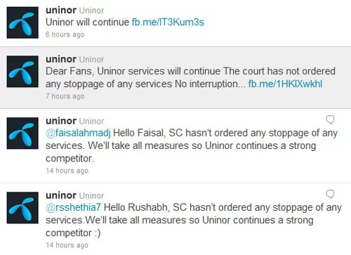 Uninor Response to Customer on 2G license Cancellation on Twitter