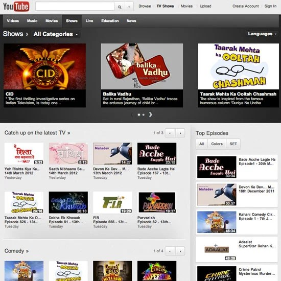 Now Watch Indian TV Serials on YouTube Shows