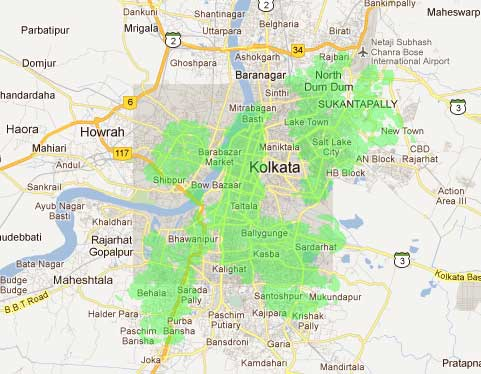 Airtel 4G LTE coverage area Kolkata