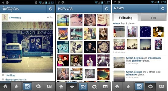 Instagram application for Android smartphone