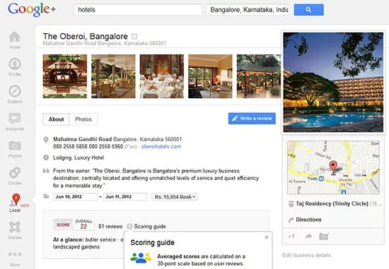 Google+ Local Place pages with Zagat scores,photos and summaries