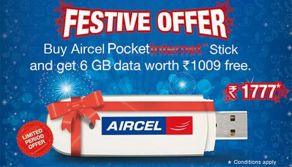 Aircel Value Pack -  3G Pocket Internet stick with 6GB 3G data for Rs 1777