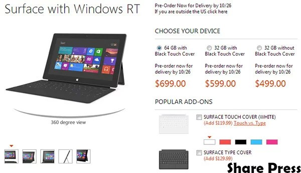 Microsoft Surface RT tablet get priced & up for Pre-order, starts from $499
