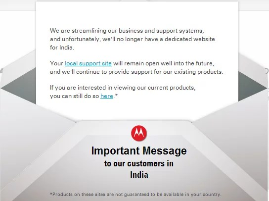 Google Owned Motorola Mobility Shuts down Official India Website