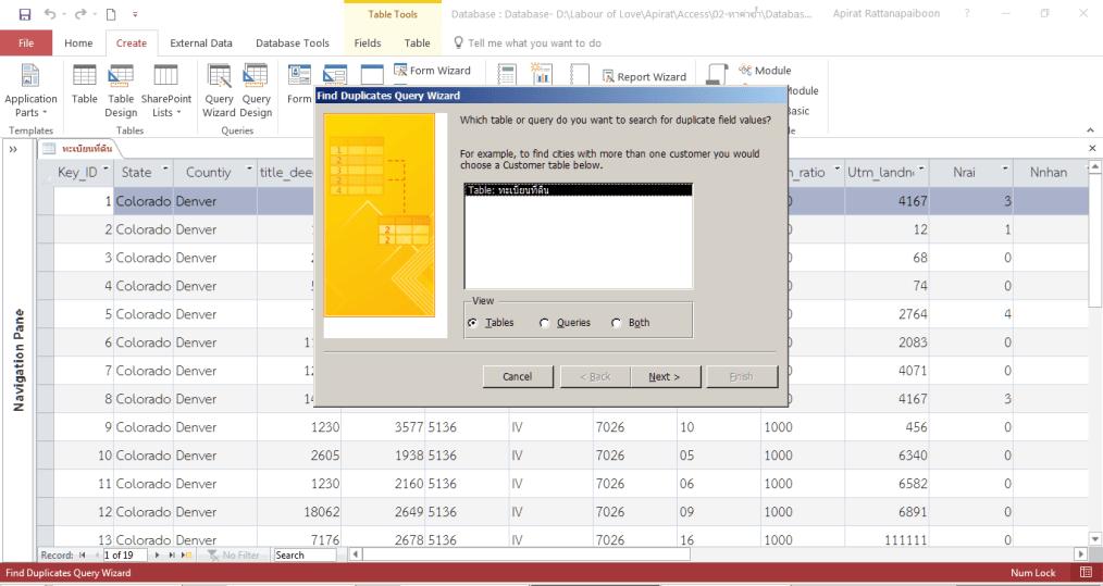 ค่าซ้ำ ใน Microsoft Access
