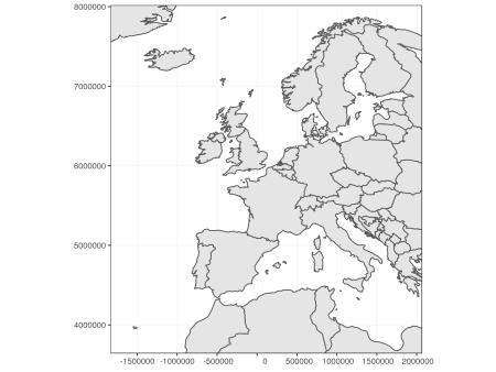 Display window of Europe in Mollweide projection