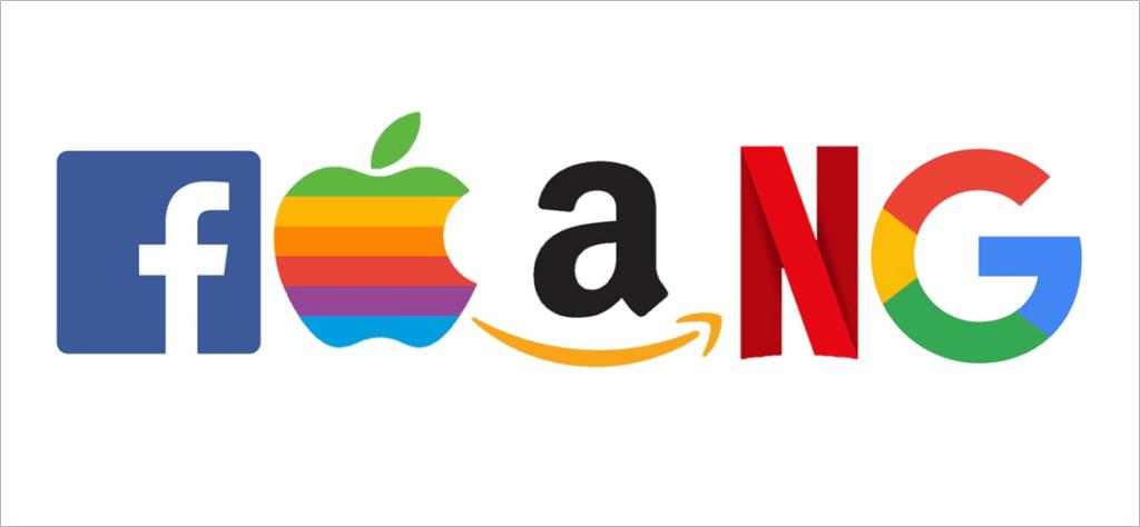 FAANG Companies (Logos of Facebook, Apple, Amazon, Netflix and Google stacked horizontally)