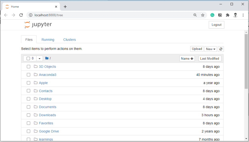 Jupyter Notebook home screen showing the files.