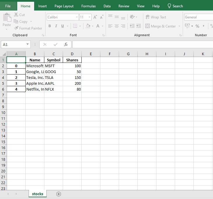 Snapshot of the saved dataframe with custom worksheet name
