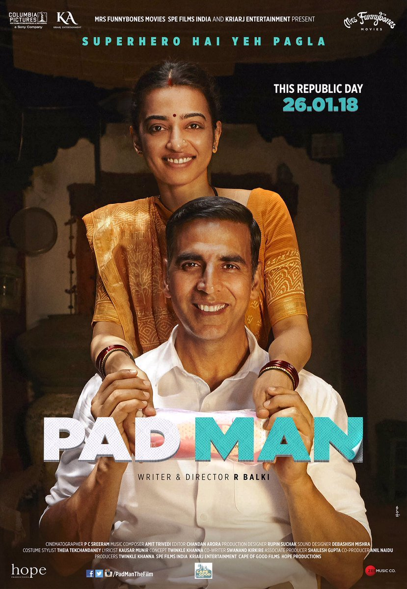 Image result for pad man poster radhike""