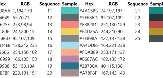 Microsoft Power BI Color Reference