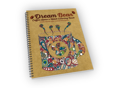 Spiral-bound coloring book with coffee theme.
