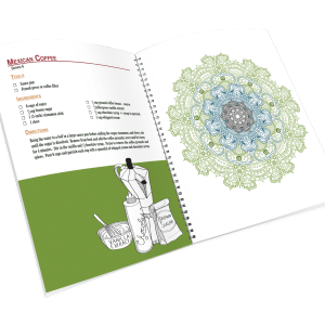 Open spiral-bound coloring journal with a coffee recipe and a mandala outline page.