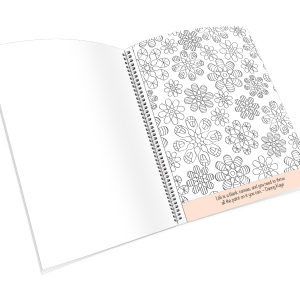 Open spiral-bound coloring journal with a flower geometric outline page.