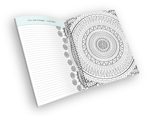 Open spiral-bound coloring journal with a mandala outline page.