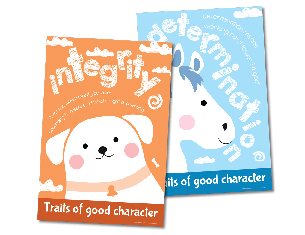 Education posters with the character qualities integrity and determination.