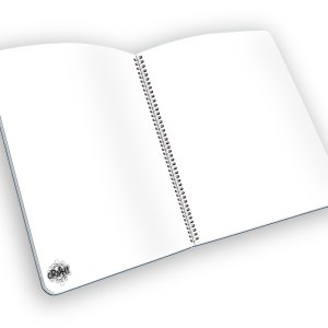 Open spiral-bound notebook with blank pages and a CRASH! graphic.