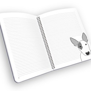 Open spiral-bound notebook with lined pages and a bull terrier.