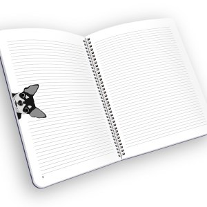 Open spiral-bound notebook with lined pages and a chihuahua.